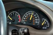 stock photo of speedo  - a view of the important gauges while driving - JPG