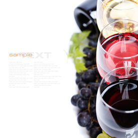 picture of wine grapes  - Glasses of white and rose wine and grapes over white  - JPG