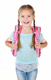 picture of schoolgirl  - Portrait of smiling schoolgirl with school bag isolated on a white background - JPG