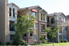 picture of suburban city  - Modern apartment complex in a suburban neighborhood - JPG