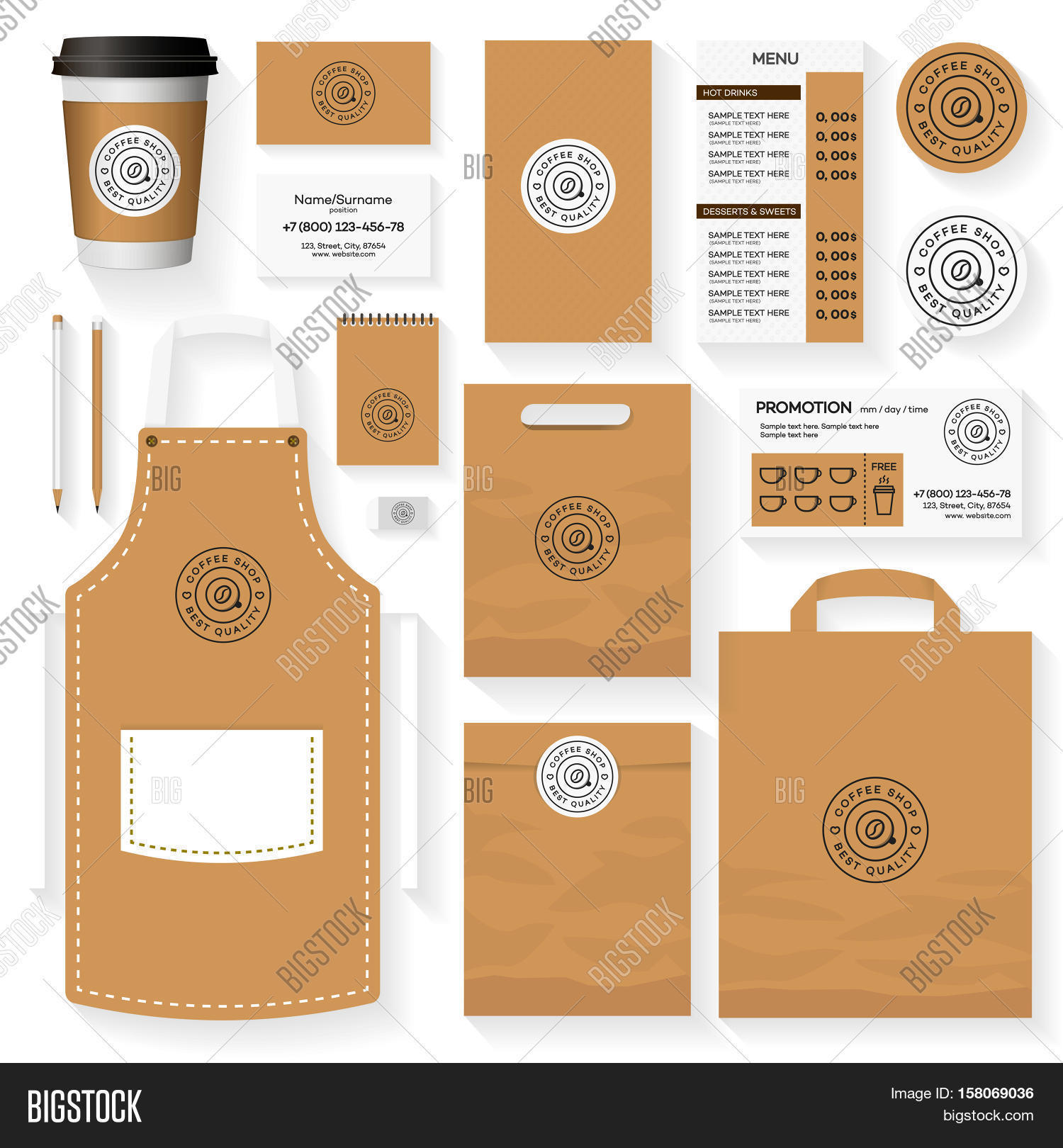 coffee shop corporate identity template design set with coffee
