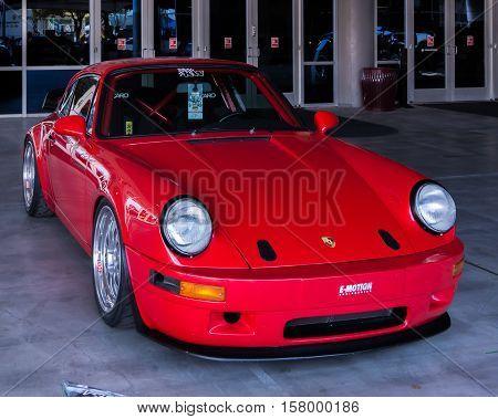 LAS VEGAS NV/USA - OCTOBER 31 2016: Customized Porsche Carrera car at the Specialty Equipment Market Association (SEMA) 50th Anniversary auto trade show. Builder: E-Motion Engineering