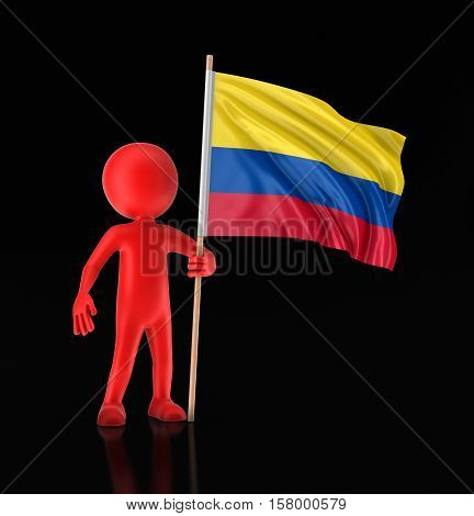 3D Illustration. Man and Colombian flag. Image with clipping path
