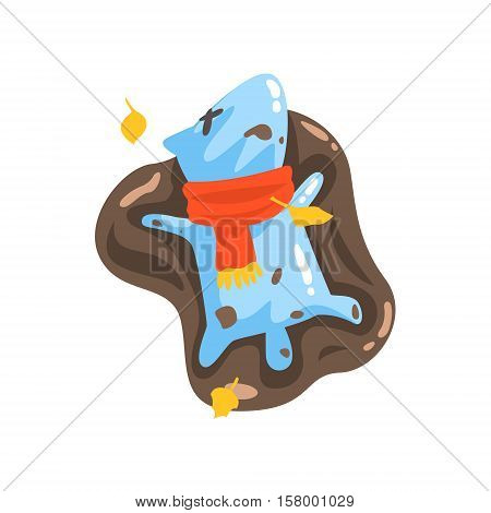 Blue Jelly Zombie Dog Monster Rolling In Puddle Of Mud Under Falling Yellow Leaves Outdoors In Autumn Season. Part Of Autumn Fantastic Animal Creatures Set Of Funny Cartoon Vector Illustrations