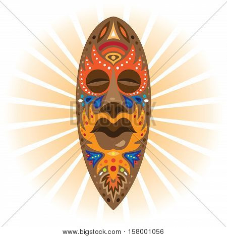 A large wooden mask African shaman used in rituals