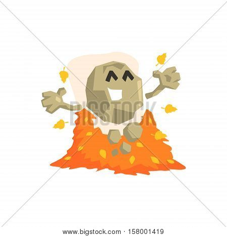 Happy Rock Golem Asteroid Monster Playing With Pile Of Shed Leaves Outdoors In Autumn Season. Part Of Autumn Fantastic Animal Creatures Set Of Funny Cartoon Vector Illustrations