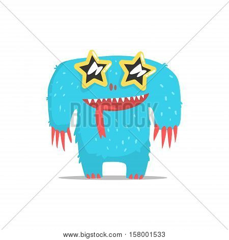 Happy Blue Furry Giant Monster In Star Shaped Dark Glasses Partying Hard As A Guest At Glamorous Posh Party Vector Illustration Part Of The Funny Alien Animal Cartoon Characters At The Celebration Collection.