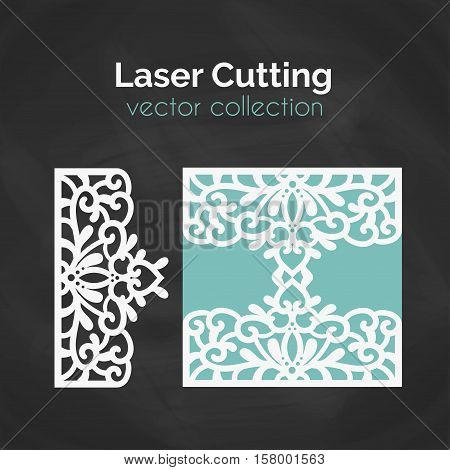Laser Cut Template. Card For Laser Cutting. Cutout Illustration With Abstract Decoration. Die Cut Wedding Invitation Card. Vector Envelope Design.
