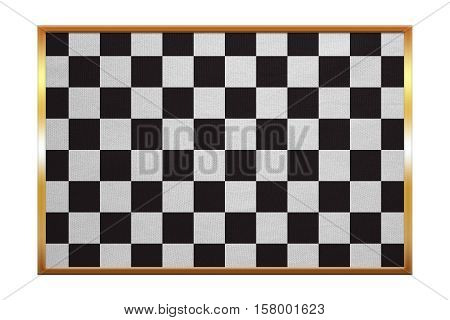 Checkered racing flag. Symbolic design of end of car race. Black and white background. Checkered flag golden frame fabric texture illustration. Accurate size color