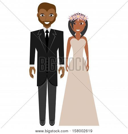 afro american groom and bride suits wedding vector illustration eps 10