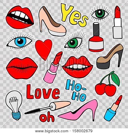 Fashion quirky cartoon doodle patch badges with cute elements. Isolated. Set of stickers,pins in comic style of 80s 90s.