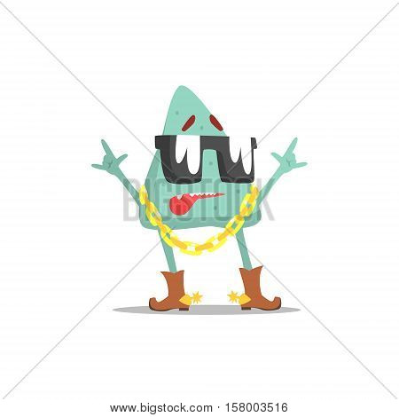 lue Triangle Shape Monster In Shades Wearing Gold Chain Partying Hard As A Guest At Glamorous Posh Party Vector Illustration Part Of The Funny Alien Animal Cartoon Characters At The Celebration Collection.