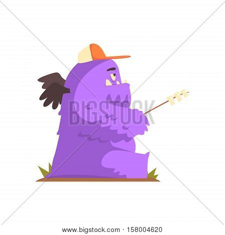 Violet Furry Giant Winged Monster Frying Marshmallows On A Stick, Alien Camping And Hiking Cartoon Illustration. Fantastic Animal On A Hike Outdoors In The Wilderness Vector Cute Character.