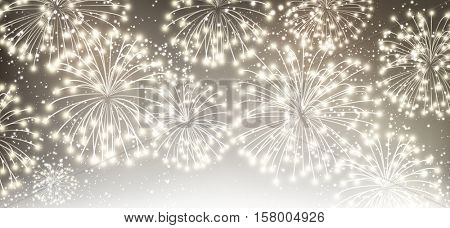 Gray festive luminous banner with fireworks. Vector illustration.