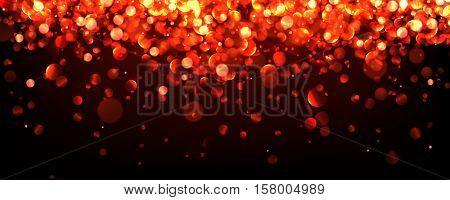 Abstract festive red luminous banner. Vector illustration.