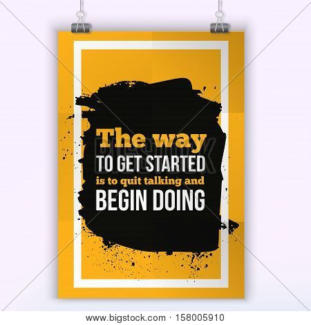 The way to Get started is Doing. Sport Running Typography Workout Motivation Poster.