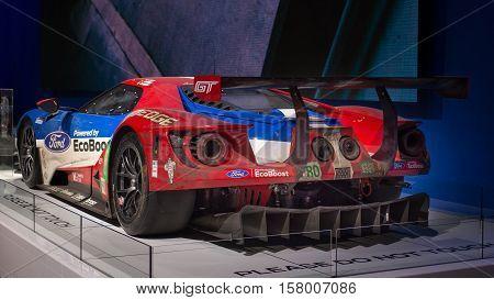 LAS VEGAS NV/USA - NOVEMBER 2 2016: 2016 Ford GT racecar at the Specialty Equipment Market Association (SEMA) 50th Anniversary auto trade show.