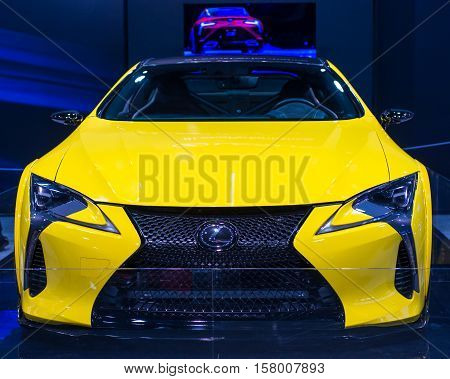 LAS VEGAS NV/USA - NOVEMBER 4 2016: Close up of a Lexus LC 500 car at the Specialty Equipment Market Association (SEMA) 50th Anniversary auto trade show held at the Las Vegas Convention Center.