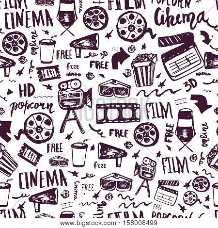 Cinema hand drawn seamless pattern with lettering. Movie making film symbols collection. Cinematography design items: camera, film tape, popcorn, chair, stars