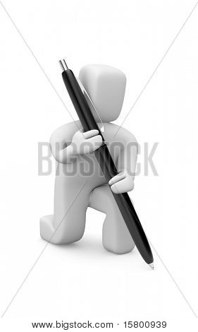 Person with pen. Image contain clipping path