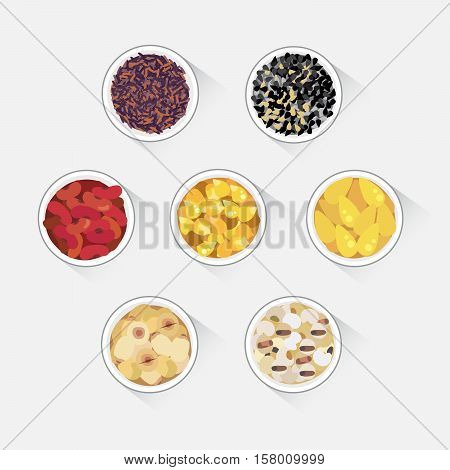 Vector of grains in bowl : lotus beans red bean rice ginkgo nut job's tears.