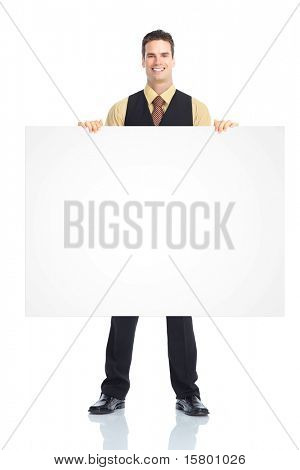 Young  smiling waiter man. Isolated over white background