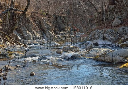 A canyon on small mountain river. Late autumn.
