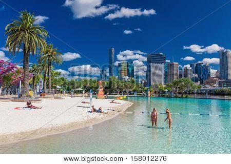 BRISBANE, AUS - NOV 18 2015: Streets Beach in South Bank Parkland. It's inner-city man-made beach next to city center.