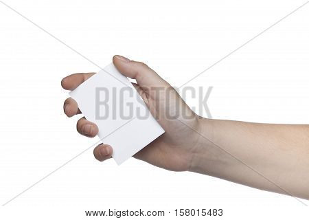 White Card Held In Your Hand, Place For Your Advertisement