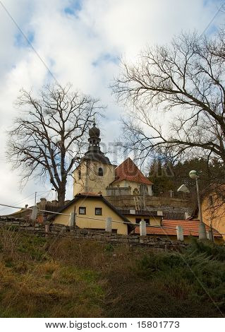 Village with church.