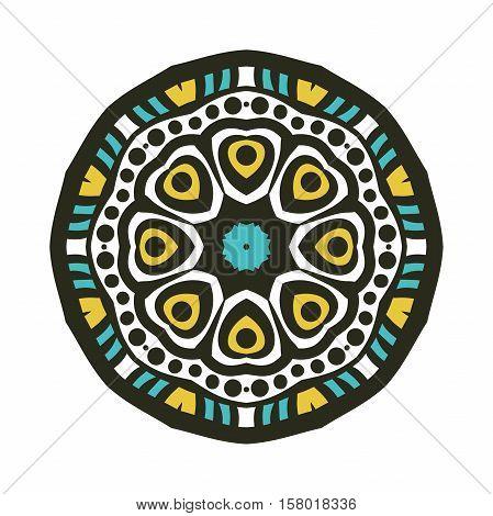 Circular ornament. Oriental pattern illustration. Flower circular background. Beautiful ethnic, oriental background. Stylized lace mandala. Beautiful big bud in dark color. Vintage.