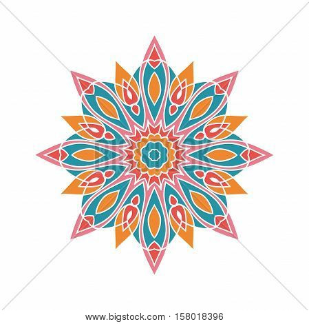 Circular background. Oriental pattern illustration. Flower circular background. A stylized mandala. Beautiful ethnic, oriental background. Stylized lace ornament. Kaleidoscope big bud. Vintage.
