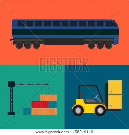 Logistics and transportation icon set vector illustration. Freight crane loading container, forklift truck with packing boxes, cargo train icons. Warehouse logistics and delivery business concept