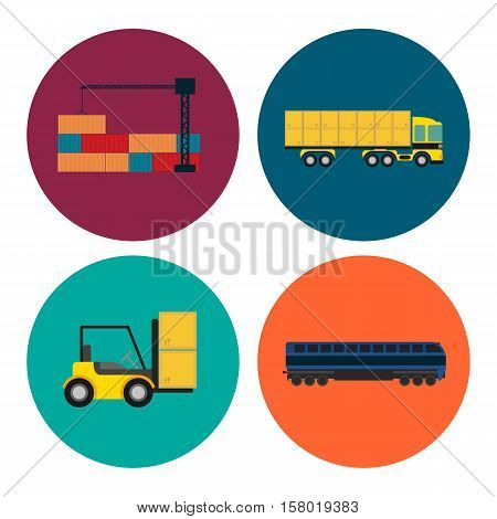 Logistics and transportation icon set vector illustration. Freight crane loading container, forklift truck, cargo train, freight container truck round icons. Warehouse logistics and delivery business
