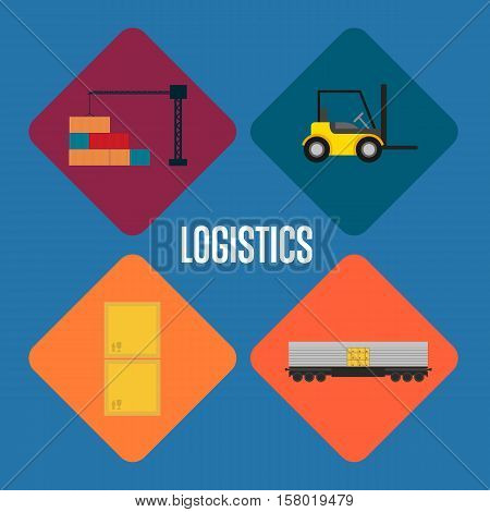 Logistics and transportation icon set vector illustration. Freight crane loading container, forklift truck, cargo train, packing boxes icons. Warehouse logistics and delivery business concept