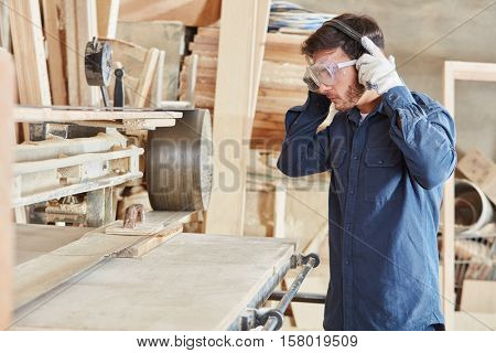 Craftsman with labor protection and ear protection