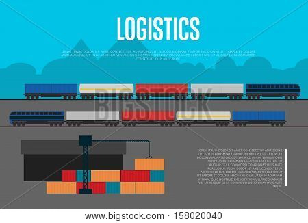 Logistics banner with freight train vector illustration. Freight crane loading container, y cargo train on railwa in flat design. Logistic company, world commercial transportation business concept