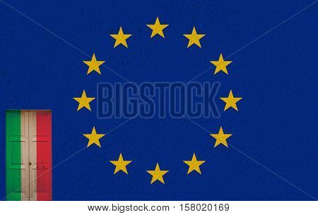 italian flag in a door and referendum yes (SI) or no (NO)