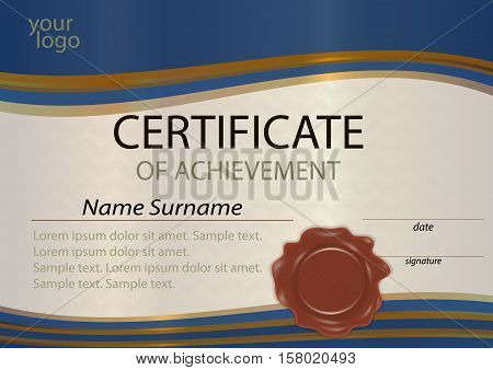 Certificate or diploma template blue and gold with wax seal. Award winner. Winning the competition. Vector illustration.