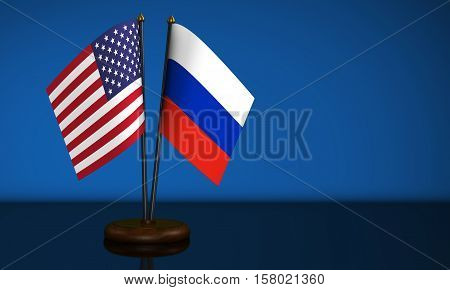 United States of America flag and Russian Federation desk flags 3D illustration.