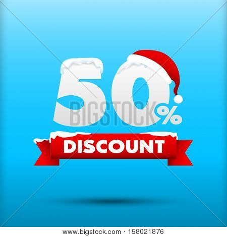 Merry Christmas sale 50 percent web tag banner promotion sale discount style vector illustration eps10