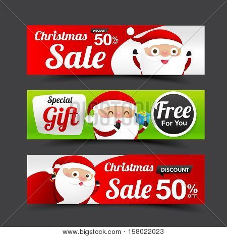 Collection of Merry Christmas Santa Claus tag banner promotion sale discount style with Christmas Santa and Christmas Element vector illustration eps10