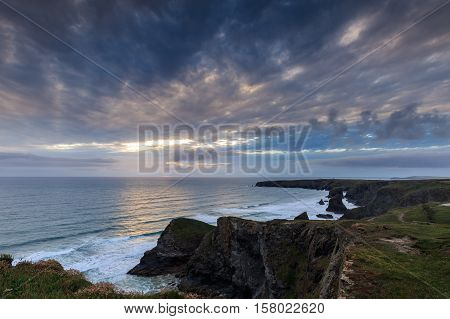 Sunset at Bedruthan steps cornwall on the summer solstice 20th June 2016