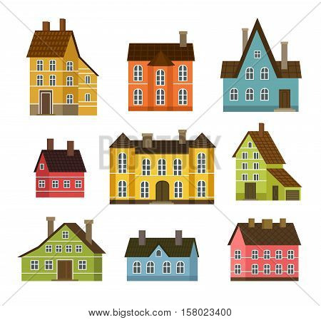 Colorful residential house set vector illustration in flat design. Private residential architecture, cottage, real estate, family home icons. House building collection isolated on white background