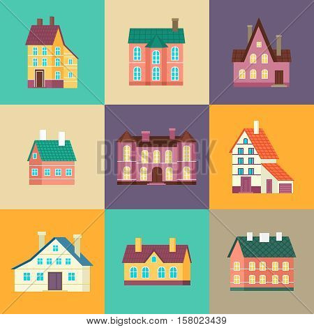 Colorful residential house set vector illustration in flat design. Private residential architecture, cottage, real estate, family home icons. House building collection isolated on color background