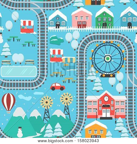 Lovely snowy city landscape train road seamless pattern play mat for children activity and entertainment. Winter city landscape with mountains, park, mall, buildings, plants and endless train rails.
