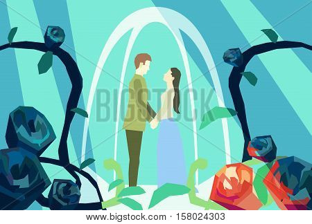 Illustration of couple in alcove holding hands and looking at each other. Romantic illustration. Flat style stock vector