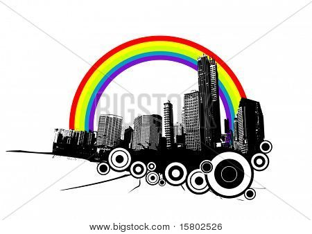 Retro city with rainbow. Vector art.