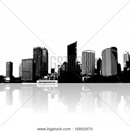 City and sea. Vector art.