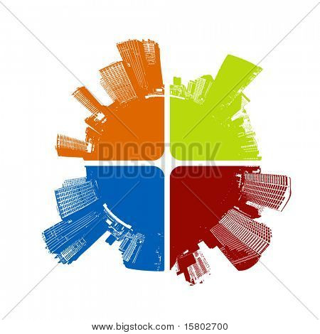 City in four colors. Vector